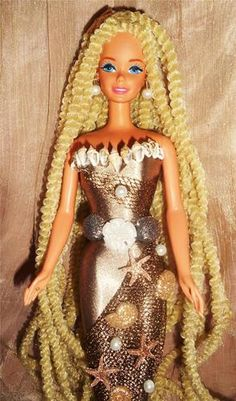 Glistening Sands coastal sand dollar mermaid barbie doll ooak starfish seashells