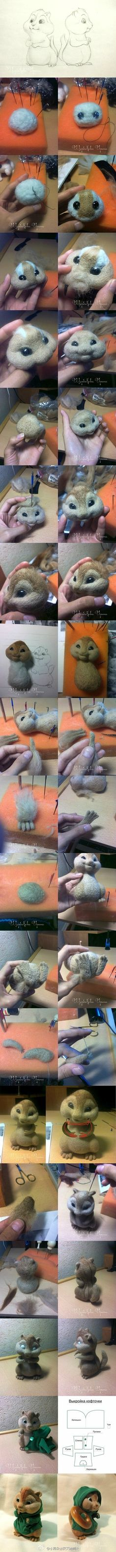 Needle felted chipmunk.