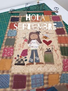 Hola Septiembre (Zulu & Co) Wool Applique Patterns, Hand Applique, Quilt Patterns Free, Applique Quilts, Quilting Room, Quilting Projects, Easy Quilts, Mini Quilts, Baby Quilts