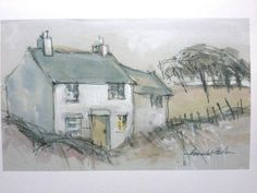 Print of Original Mixed Media Painting 'Cottage in the Wild'. Signed.