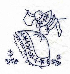 girl hanging laundry on clothesline - embroidery