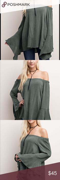 Gauze Off the Shoulder Top🎉Weekend Sale Beautiful off the Shoulder top with bell sleeves! Such a flattering fit to dress up or down!  Sizes: Small, Medium, Large true to size fit!! 100% Rayon! Olive HipFinds Tops Tees - Long Sleeve