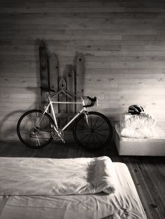 My road bike in my hotel room after a 250 km long trip in the mountain.