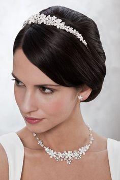 Diadem / Tiara Haarschmuck mit Perlen