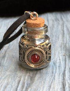 Red and Silver Steampunk Bottle Necklace by RetroHippieUnlimited