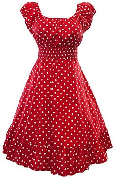 This inspired swing dress features a classic polka dot print and a full ruffle hemmed circle skirt. Raglan capped sleeves have elastic stretch. Empire styled smock waist band for extra stretch. 50s Dresses, Vintage Dresses, Vintage Outfits, Smocked Dresses, Pretty Outfits, Pretty Dresses, Beautiful Dresses, Plus Size Fashion Dresses, Plus Size Dresses