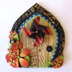 Pinwheel Fairy Door, Miniature Pixie Portal, Home Decor, Fairy Garden Accessory, Tooth Fairy Door by Claybykim on Etsy