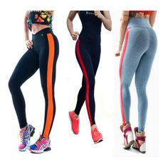 2014 New Fashion Women's Stripe Sport Patchwork Gym Yoga High Waist Neon Leggings fitness US $8.99