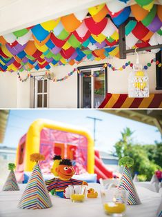 A Sesame Street first birthday with a balloon ceiling!