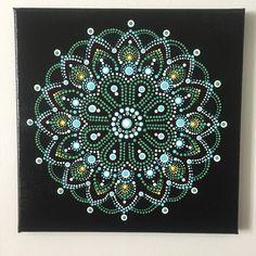 Mandala A008 10X10 Thin Hand Painted Mandala Canvas Dot Art
