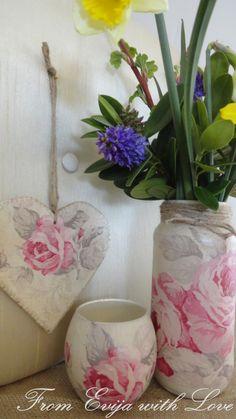 vintage rose set using paper napkins - decoupage tutorial on the blog