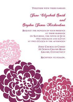Chrysanthemum Free Wedding Invitation Template