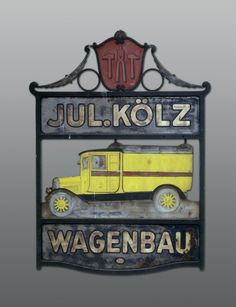 Elegant Firmenschild des Basler Wagenbauers Julius K lz