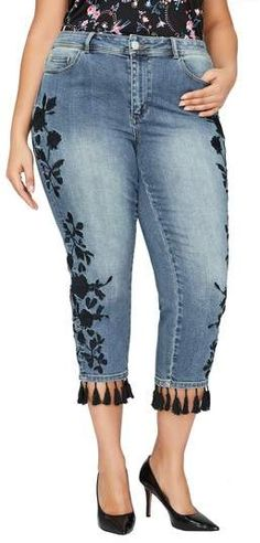 a277a4f081055 Addition Elle Love And Legend Plus Embroidered Tassel Hem Slim Cropped Jeans