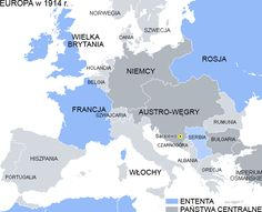 World War One - Europe in 1914 - Entente and Central Powers