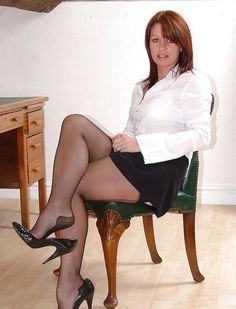 Sex tool in bare nylons and high heels