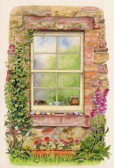 Cottage Window (watercolour on paper) by Lynne Henderson Watercolor Pencil Art, Watercolour Drawings, Watercolor Plants, Watercolor Walls, Watercolor Paintings, Wall Drawing, Plant Drawing, Cottage Windows, Barn Art