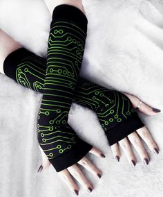 Wired Long Arm Warmers Lime Green Circuit Board Print on Black!  Made from Wonderfully soft and stretchy Cotton Knit, these Arm Warmers feature a