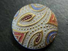 23MM Retro Czech Glass Button - Decorative Artisan Bohemia Shank Button - Hand Made Buttons - Vintage Czech Buttons - 1 Button Per Order