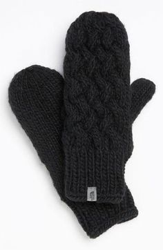 Warm up with knit mittens.