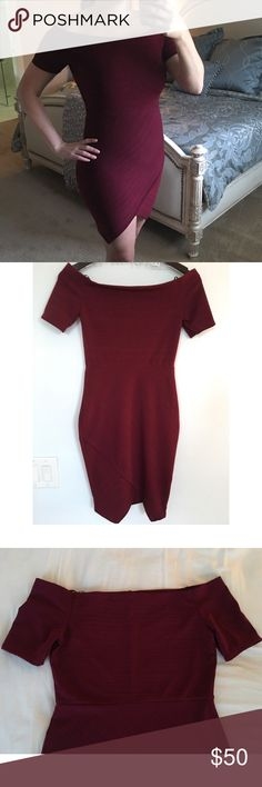 NEW❣️Burgundy Off the Shoulder Wrap Dress NEW!!! Burgundy Off the Shoulder Wrap Dress. Fabric 96% Poly & 4% Spandex. Made in the USA. No Trades. Price is Firm Unless Bundled. 2 Items 10% Off 3 Items 15% Off. GlamVault Dresses Strapless