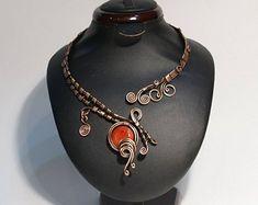 Wire Wrapped Jewelry Handmade by BeyhanAkman on Etsy Copper Wire Jewelry, Leaf Jewelry, Body Jewelry, Silver Jewelry, Jewellery, Gifts For Women, Gifts For Her, Copper Anniversary Gifts, Wire Wrapped Bracelet