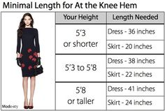 Measurements for knee length skirts and dresses! Perfect for online shopping.