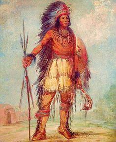 """A-wun-ne-wa-be, Bird of Thunder"" -- George Catlin -- American -- Oil on canvas -- The Smithsonian American Art Museum."