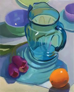 Robin Rosenthal Art: Blue Pitcher, Tulips and Orange