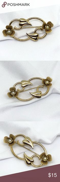 "🆕Vintage Gold & Genuine Pearl Brooch A gold floral pin 1 3/4"" x 1"", with two genuine pearls set into the ""flowers"" on each end of the pin! Simple, elegant and in excellent vintage condition! From the WWII era, when precious metals were scarce but real pearls weren't! Vintage Jewelry Brooches"