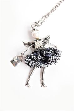 "- ""Hope Angel Pendant with chain necklace and extra clip to double as a charm or key chain. - 30"" Chain, Angel: 1-13/16"" wide x 4"" tall. - Jacqueline Kent. - Believe, Have Faith Miracles Do Happen. -"