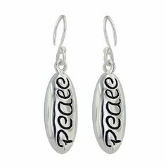 Sterling Silver Peace Word in Oval Dangle Earrings E-Coated Nickle Free Silver Empire Jewelry. $12.49