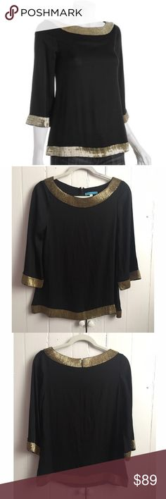 """Alice + Olivia silk beaded 3/4 sleeve tunic top S Perfect blouse to glam out with this holiday season! Gold beads adorn the bateau neck, hemline and 3/4 length sleeves. No beads missing or loose that I can note. Pair with jeans or dress it up! Perfect pre-loves condition! 93% silk, 7% spandex. Approx 34"""" bust, 24"""" length. ✅offers❌trades/PP bundles save 20% off 2+ Alice + Olivia Tops Blouses"""