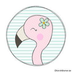 Flamingo Mädchen Button Doodle Stickdatei