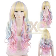 Long Curly Multi-color Pastel Ombre Fashion Synthetic Hair Wig   #Fashionxover #FullWig