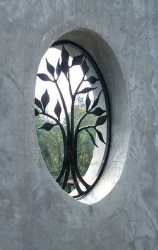 Traditional Landscape Wrought Iron Art Design, Pictures, Remodel, Decor and Ideas Iron Window Grill, Window Grill Design, Iron Windows, Iron Doors, Gate Design, Door Design, Leaf Design, Window Bars, Window Security