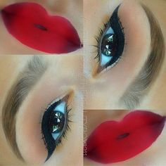 Red ombre lips and classic liner