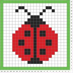Ladybug Four leaf clover Crochet baby blanket blanket Tiny Cross Stitch, Simple Cross Stitch, Cross Stitch Animals, Cross Stitch Designs, Cross Stitch Patterns, Crochet C2c Pattern, Crochet Blanket Patterns, Baby Blanket Crochet, Crochet Baby