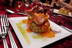 Wild Salmon with fingerling potato croquette, tomato beurre blanc, raddichio, chive oil