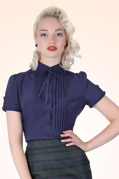 Collectif Clothing - 50s Eliza Bow Blouse in Navy