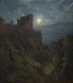 Joseph Magnus Stack, Italian Landscape of Ruins in the Moonlight 1850