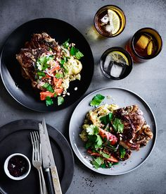 Lamb loin chops with smoky eggplant, and farro and tomato salad recipe :: Gourmet Traveller