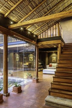 Natural materials shape the lovely interior of the home