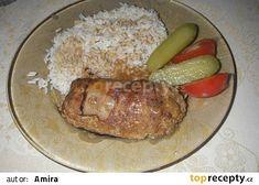Závitky z mletého masa recept - TopRecepty.cz Grains, Pork, Chicken, Meat, Red Peppers, Kale Stir Fry, Pigs, Seeds, Korn