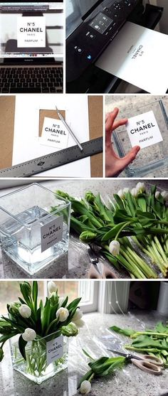 Share on: This weekend be creative!! And bring also the necessary fresh flowers into your decoration must!! This can also be a great idea for a very beautiful and unique present for your precious beloved ones. Use a common glass vase to glue on Chanel's No 5 logo. You can easily find it on web, print …