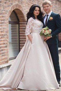 Charming Plus Size Half Long Sleeves Champagne Wedding