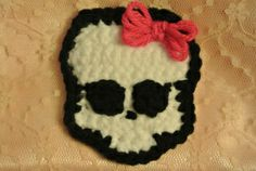 FREE Skull appliqué pattern on the blog! http://thewholeknitandcaboodle.com