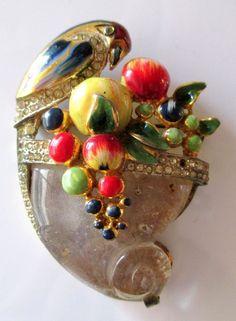 Corocraft Enamel Parrot Jelly Belly Fruit Pin
