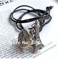 Hotsale Bohemain Style Retro Carving Eiffer Tower And Bottle Cap Pendant Necklace Sweater Necklace Jewlery 1pcs $1.55