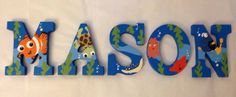 Personalized Wooden Wall Letters for Kids' Rooms - Inspired by Disney Pixar Finding Nemo Movie Favorite Toddler and Infant bedding theme